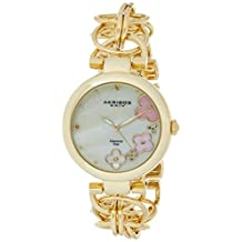 Akribos XXIV Women's Gold Diamond Jewelry Watch - Cream Mother of Pearl Dial with Applied Flowers - Luminous Hands - Link Chain Bracelet - AK645