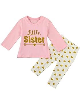 Amlaiworld winter Baby Mädchen gold little sister pullis warm Herz hose Kleinkind Freizeit langarmshirt sets,1...