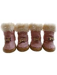 Moolecole Invierno Calentar Mezcla De Algodón Felpa Forrada Mascotas Botas Nieve Acogedor Protector De La Pata Antideslizante Zapatos Del Perro Con Velcro Para Perros Pequeños 4-Pack Rosa XS