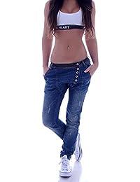 Damen Boyfriend Jeans Boyfriendcut Hose Baggy Haremshose Chino Blau XS 34 S 36 M 38 L 40 XL 42
