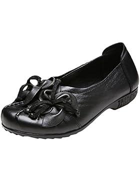 Vogstyle Damen Frühjahr/Sommer Neu Vintage Handgefertigte Große Blume Leder Flache Schuhe