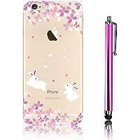Cover iPhone 7 (4.7), iPhone 7 Custodia, Bonice TPU trasparente Ultra Slim Thin 3D Case + Stilo Penna - Coniglio & Flore