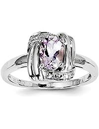 Plata de Ley Diamond y rosa Amatista Anillo – anillo tamaño ...