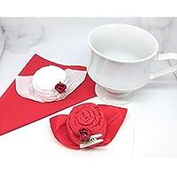 Servilletas de rosas rojas y blanco rosa en un set de 12, para madre, cumpleanos, boda como regalo.