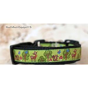 Hundehalsband Rehe in Grün, klein