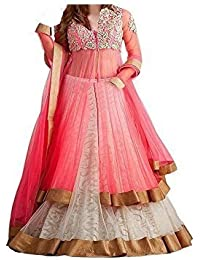 BHOOMI EXPORT Girl's Net Brasso Semi-stitched Lehenga Choli, Free Size, 8-9 Years (5. Baby Pink Panther)