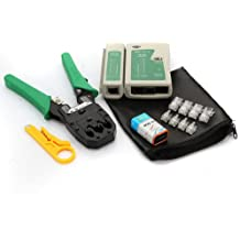 Homeking - Kit di rete LAN RJ11 RJ12 CAT5 RJ45 + pinza crimpatrice + strumenti di connessione
