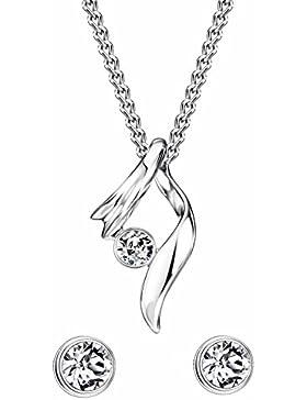 NEOGLORY Schmuck-sets (Ohrstecker Kette) Swarovski Elements Strass Exquisites Design Weiß Elegant