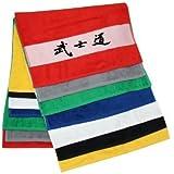Duschtuch mit Schriftzeichen / Kanji Bushido 70x140 cm mit bedruckter Bordüre