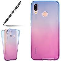 Uposao 360 Grad Handyhülle für Huawei P20 Lite Full Body Hülle Ultra Dünn Beidseitiger Vorne und Hinten Handy Tasche Transparent Klar Etui Case Cover,Blau+lila