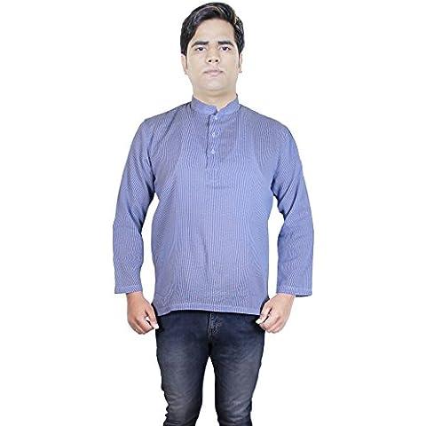 Camisa para hombre de la raya del algodón corto kurta - vestido de la manera ropa de indio
