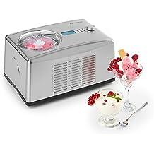 Klarstein • Yo & Yummy • Máquina de helado y Yogur 2 en 1 • Heladera • Yogurtera • Helados Soft • 4 Modos: Revuelve, enfría, helado y yogur • Temporizador • Panel tiempo restante • 150 W • 1,5 L • Función enfriado • acero inoxidable • plateada