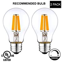 LightAccents Indoor/Outdoor Dimmable LED Filament Light Bulb A19, 8W (60W Equivalent), 800 lumens, 2700K (Warm White), Omnidirectional, Medium Base (E27) UL-Listed - (Pack of 2))