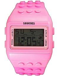 f2973c795c6b Reloj de pulsera de multifuncion de colores - SHHORS Color solido Reloj de  pulsera de nino LED impermeable de…