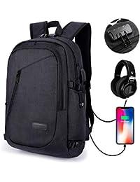 MODAR Laptop Rucksack Anti-Diebstahl 12-15.6 Zoll Laptoptasche Wasserdicht, USB Ladeport + Kopfhöreranschluss, Ideal für Studenten/Business/ Reisen, 19.7 x 11 x 7/30 x 18 x 47cm