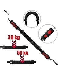 Physionics Barra Flexible con Resorte de 30-50kg de Acero para Entrenamiento de la Musculatura