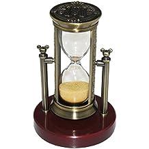 Fengfa, Hourglass Sablier de Trois minutes , minuterie de sable Cristal classique avec des sables pour le manteau Bureau de bureau Table basse Tablette d'étagère de livre Cadeau d'anniversaire de Noël Coffret Cadeau Cadeau (RKS-BG001,Bronze)