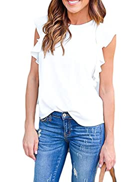 Las Mujeres Verano Caliente Sin Mangas Volantes Blusa Casual Tunic T Shirt Top Tee