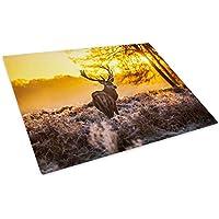 Winter Sunrise Brown Deer Glass Chopping Board Kitchen Worktop Saver Protector