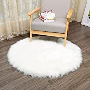 Artificial Round Sheepskin Rug Fluffy Chair Cover Bedroom Blanket Mat Soft Faux Wool Warm Hairy Carpet Seat Te