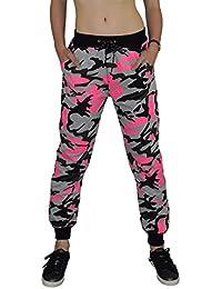 S&LU tolle Damen Camouflage-Sporthose Tarn-Jogginghose Freizeithose in knalligen Neon-Farben in Größe XS - XL
