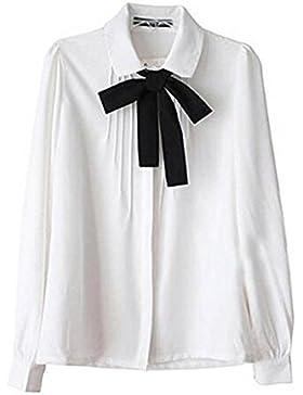 Lady Bowknot Baby Collar Long Sleeve OL Chiffon Button Shirt White