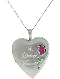 "TOC Sterling Silver ""In Loving Memory"" Heart Cremation Locket Necklace 18"""