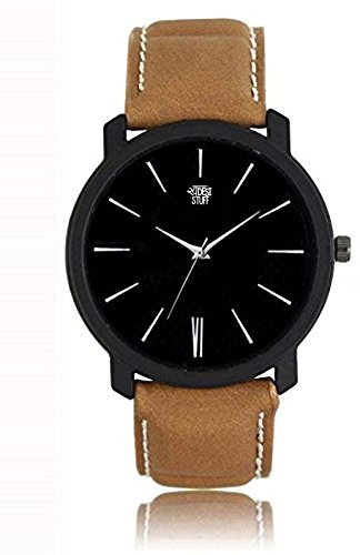 Swadesi Stuff New Arrival Leather Belt Black Dial Analog Watch For Men & Boys 00904