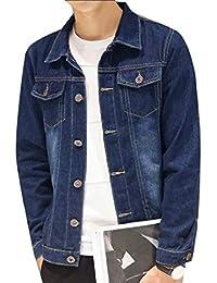 WQ&EnergyMen Men Denim Spring Unlined Washed Classic Botton Front Jean Jackets