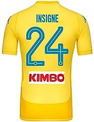 Napoli Away auténtico Match insigne Jersey 2017/2018(diseño de abanico printing), Amarillo