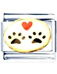 Abalorio italiano esmaltado con huellas de cachorros y corazón, para pulsera Nomination