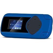 "AGPTEK R2S- Mini Clip Reproductor de MP3 (pantalla de 1.0"", Radio, Max soporte 64 GB Micro SD Tarjeta), color Azul"