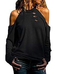 VECDY Camisa Casual De Manga Larga para Mujer Bolsillos con Cuello Abotonado Botones En La Parte Delantera Camiseta