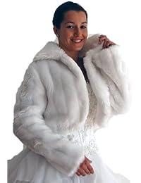 Brautjacke-Bolero mit Kragen, Fell-Nerzimitat, langarm, weiß, Größe 44