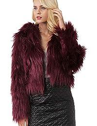Yvelands Chaqueta de Piel sintética Premium cálida para Mujer Color sólido de Invierno Chaqueta de Piel con Capucha Liquidación!