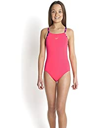 Speedo Mädchen Badeanzug Solid Rippleback with Printed Straps,