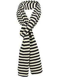 799020593dbe dames écharpe noir beige rayé taille 172 cm x 27 cm - foulard tissu