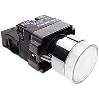Cablematic - Pulsante momentaneo interruttore 22mm 1NC 400V 10A normalmente chiuso con luce LED bianca