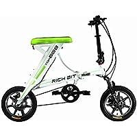rich bit® nuovo aggiornamento rt-68836V * 250W bici elettrica City ibrido da ciclismo impermeabile telaio interno Li-on batteria di qualità in lega telaio pieghevole in alluminio, forcella di sospensione Tiny Small 35,6cm ruota