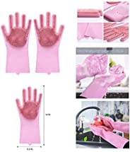 Jolly Gloves Magic Dishwashing Gloves with Scrubber, Silicone Cleaning Reusable Scrub Gloves for Wash Dish,Kit