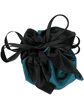 SiaLinda: Pompadour Tasche, verschiedene Farben außen / schwarz innen, Satin. Beuteltasche Damen Zugbeutel. Inkl...