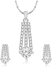 Meenaz Pendant Set For Women & Girls Earrings In American Diamond Silver Plated CzPT208
