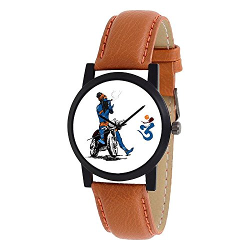 Swadesi Stuff Exclusive Stylish Black Dial Analog Watch For Men & Boys - Brown Bhole