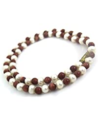 Himalaya Rudraksha Kendra 100 % Original Golden Sun Stone And Real Pearl Necklace (16 Inch Length) For Women /...