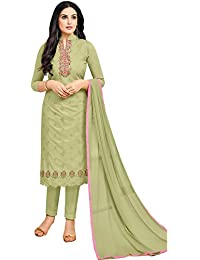 Rajnandini Women's Pure Cambric Cotton Embroidered Dress Material(JOPLMF2012_Light Green_Free Size)