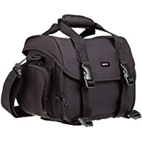 AmazonBasics Large shoulder bag for camera and accessories  Black with grey interior