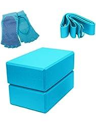 MAGIC UNION Fitness Yoga Starter-Set:2 Yogablöcke 1 Band 2 Zehensocken mit Vollem Griff in verschiedene Farben