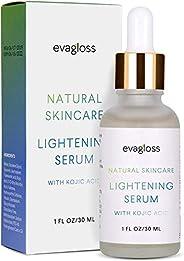 Lightening Serum with Kojic Acid, Dark Spot Corrector Remover for Face & Body, Natural Gentle Skin Brighte