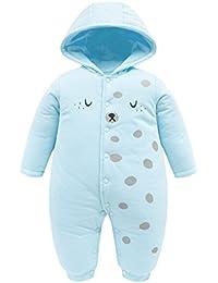 Bebé Ropa de Invierno Mameluco con Capucha Traje de Nieve Algodón Peleles Manga Larga para Niños Niñas