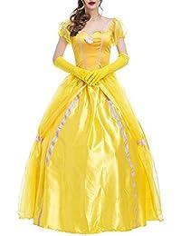 Feicuan Mujer Disfraz de Princesa Fancy Vestido Halloween Party Carnaval Amarillo
